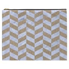 Chevron1 White Marble & Sand Cosmetic Bag (xxxl)