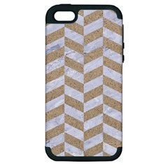 Chevron1 White Marble & Sand Apple Iphone 5 Hardshell Case (pc+silicone)