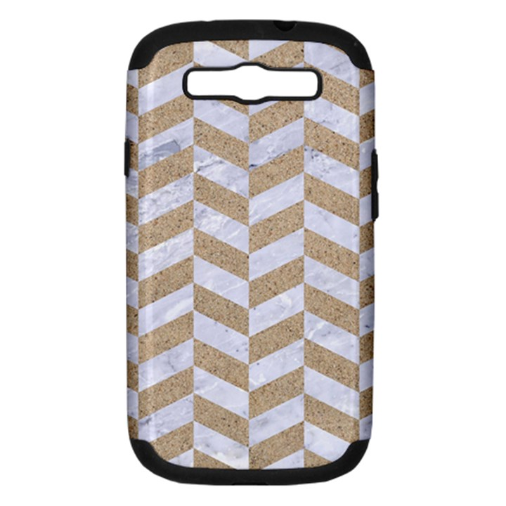 CHEVRON1 WHITE MARBLE & SAND Samsung Galaxy S III Hardshell Case (PC+Silicone)