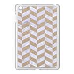 CHEVRON1 WHITE MARBLE & SAND Apple iPad Mini Case (White) Front