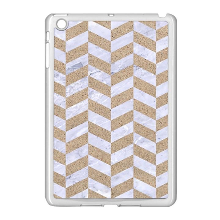 CHEVRON1 WHITE MARBLE & SAND Apple iPad Mini Case (White)