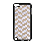 CHEVRON1 WHITE MARBLE & SAND Apple iPod Touch 5 Case (Black) Front