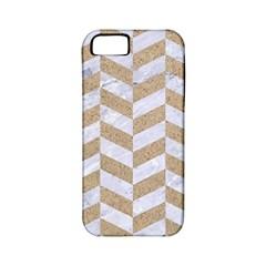 Chevron1 White Marble & Sand Apple Iphone 5 Classic Hardshell Case (pc+silicone)