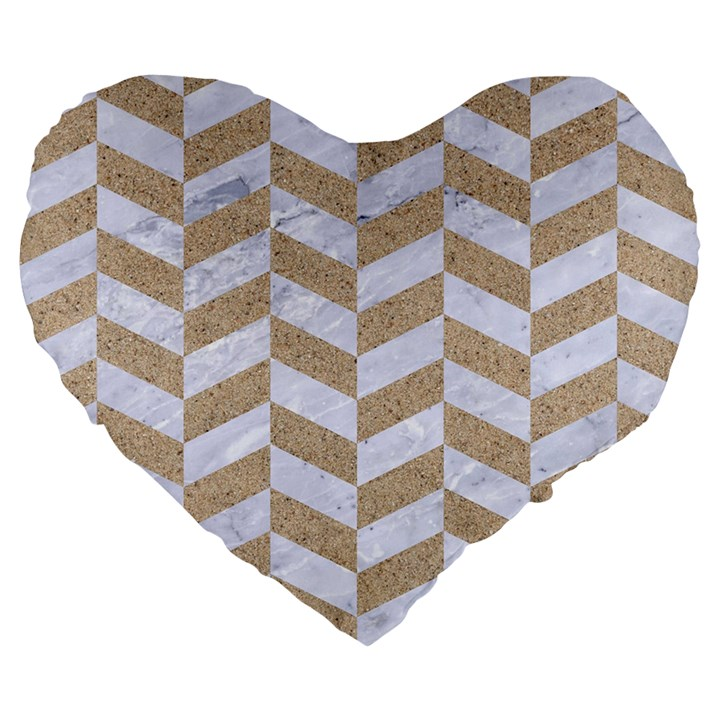 CHEVRON1 WHITE MARBLE & SAND Large 19  Premium Heart Shape Cushions