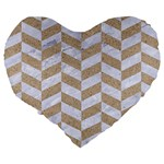 CHEVRON1 WHITE MARBLE & SAND Large 19  Premium Heart Shape Cushions Back