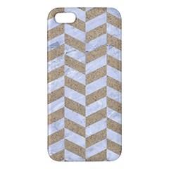 Chevron1 White Marble & Sand Apple Iphone 5 Premium Hardshell Case