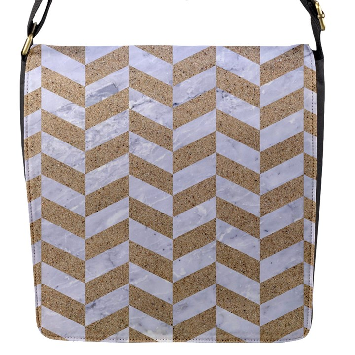 CHEVRON1 WHITE MARBLE & SAND Flap Messenger Bag (S)