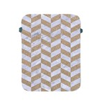 CHEVRON1 WHITE MARBLE & SAND Apple iPad 2/3/4 Protective Soft Cases Front