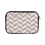 CHEVRON1 WHITE MARBLE & SAND Apple iPad Mini Zipper Cases Front