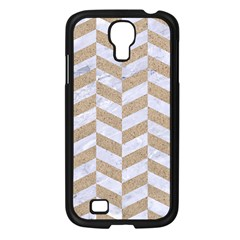 Chevron1 White Marble & Sand Samsung Galaxy S4 I9500/ I9505 Case (black)