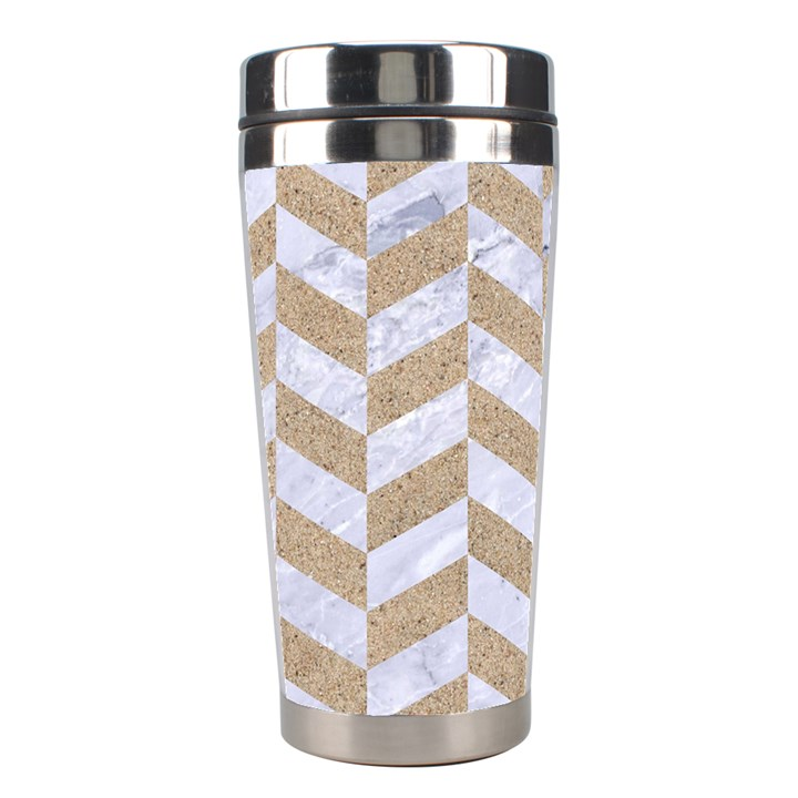 CHEVRON1 WHITE MARBLE & SAND Stainless Steel Travel Tumblers