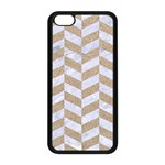 CHEVRON1 WHITE MARBLE & SAND Apple iPhone 5C Seamless Case (Black) Front