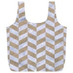 CHEVRON1 WHITE MARBLE & SAND Full Print Recycle Bags (L)  Front