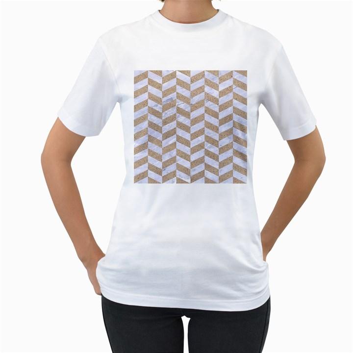 CHEVRON1 WHITE MARBLE & SAND Women s T-Shirt (White)