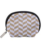 CHEVRON1 WHITE MARBLE & SAND Accessory Pouches (Small)  Front
