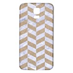CHEVRON1 WHITE MARBLE & SAND Samsung Galaxy S5 Back Case (White) Front