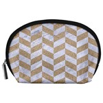 CHEVRON1 WHITE MARBLE & SAND Accessory Pouches (Large)  Front