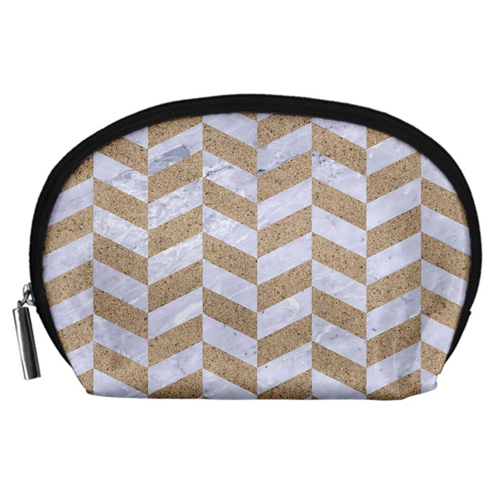CHEVRON1 WHITE MARBLE & SAND Accessory Pouches (Large)