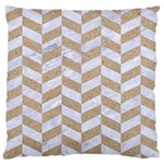 CHEVRON1 WHITE MARBLE & SAND Large Flano Cushion Case (Two Sides) Front
