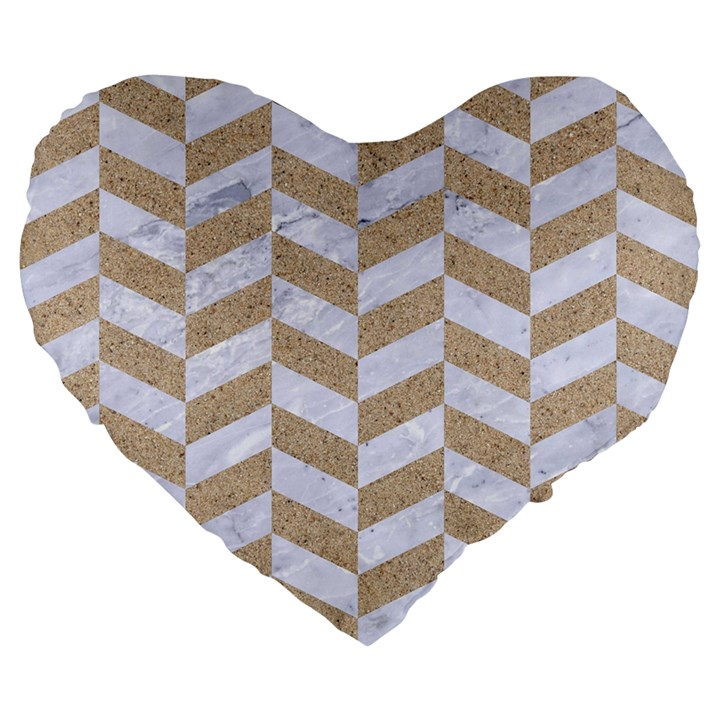 CHEVRON1 WHITE MARBLE & SAND Large 19  Premium Flano Heart Shape Cushions