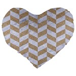 CHEVRON1 WHITE MARBLE & SAND Large 19  Premium Flano Heart Shape Cushions Back