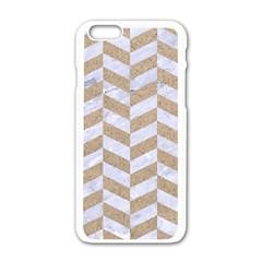 Chevron1 White Marble & Sand Apple Iphone 6/6s White Enamel Case