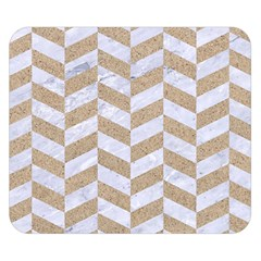 Chevron1 White Marble & Sand Double Sided Flano Blanket (small)