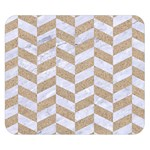 CHEVRON1 WHITE MARBLE & SAND Double Sided Flano Blanket (Small)  50 x40 Blanket Back