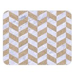 CHEVRON1 WHITE MARBLE & SAND Double Sided Flano Blanket (Large)  80 x60 Blanket Front
