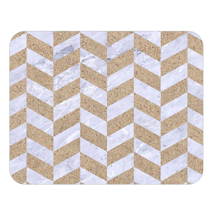 CHEVRON1 WHITE MARBLE & SAND Double Sided Flano Blanket (Large)