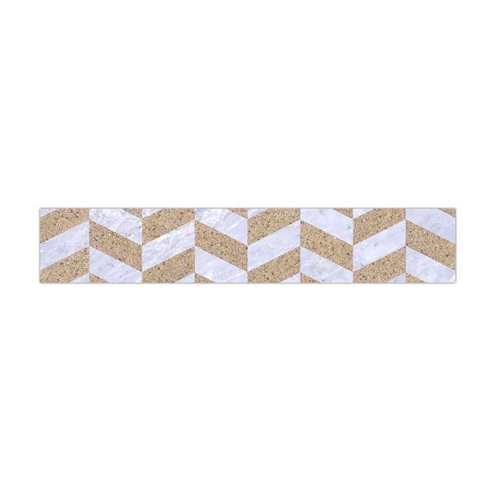 CHEVRON1 WHITE MARBLE & SAND Flano Scarf (Mini)