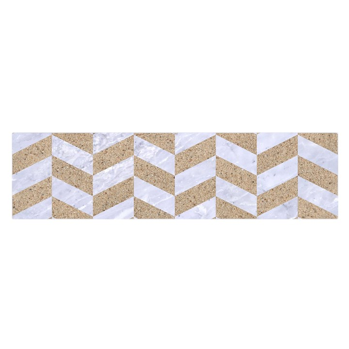 CHEVRON1 WHITE MARBLE & SAND Satin Scarf (Oblong)