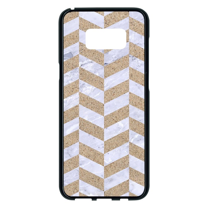 CHEVRON1 WHITE MARBLE & SAND Samsung Galaxy S8 Plus Black Seamless Case