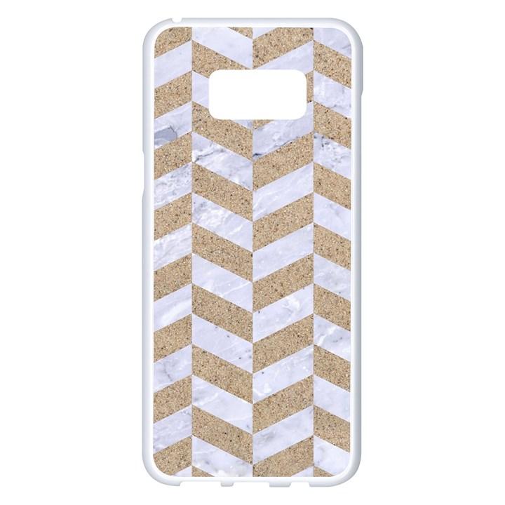 CHEVRON1 WHITE MARBLE & SAND Samsung Galaxy S8 Plus White Seamless Case