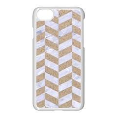 Chevron1 White Marble & Sand Apple Iphone 8 Seamless Case (white)