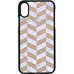 CHEVRON1 WHITE MARBLE & SAND Apple iPhone X Seamless Case (Black) Front