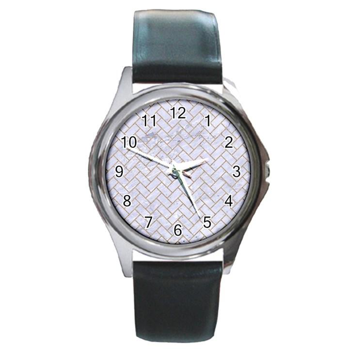 BRICK2 WHITE MARBLE & SAND (R) Round Metal Watch