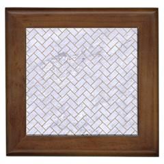 Brick2 White Marble & Sand (r) Framed Tiles