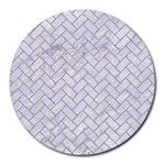 BRICK2 WHITE MARBLE & SAND (R) Round Mousepads Front