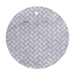 BRICK2 WHITE MARBLE & SAND (R) Ornament (Round) Front
