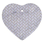 BRICK2 WHITE MARBLE & SAND (R) Ornament (Heart) Front