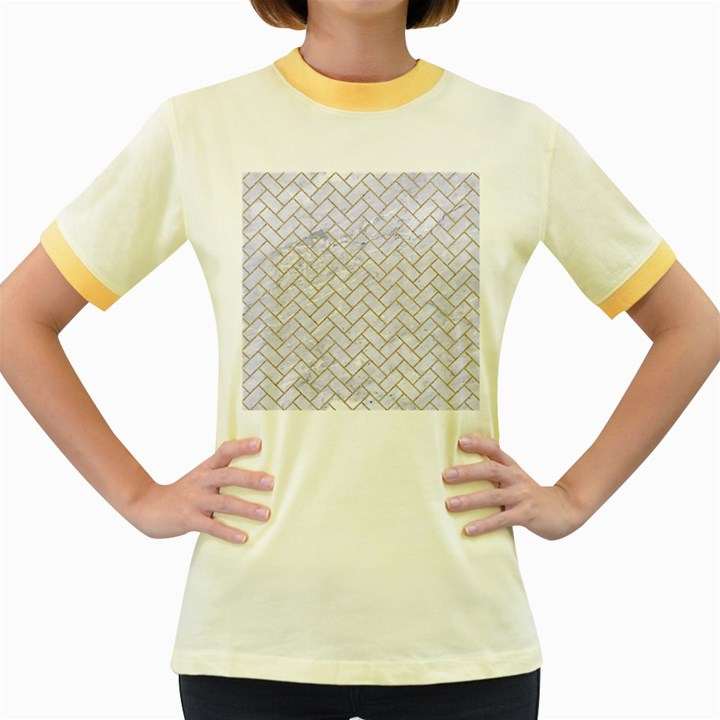 BRICK2 WHITE MARBLE & SAND (R) Women s Fitted Ringer T-Shirts