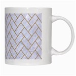 BRICK2 WHITE MARBLE & SAND (R) White Mugs Right