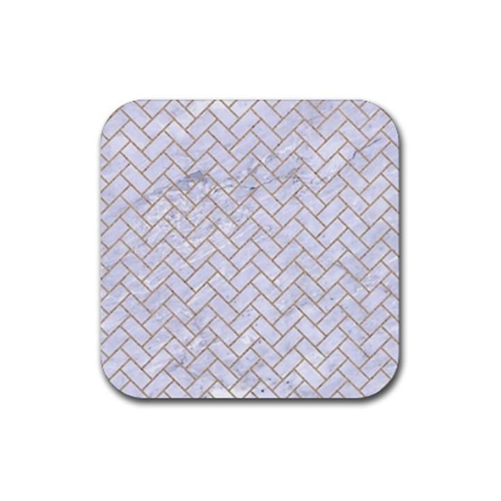 BRICK2 WHITE MARBLE & SAND (R) Rubber Coaster (Square)