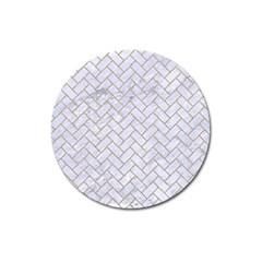Brick2 White Marble & Sand (r) Magnet 3  (round)
