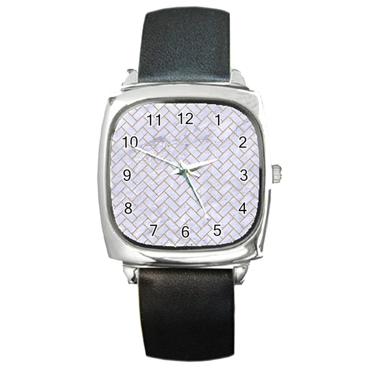 BRICK2 WHITE MARBLE & SAND (R) Square Metal Watch