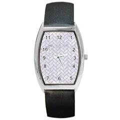Brick2 White Marble & Sand (r) Barrel Style Metal Watch