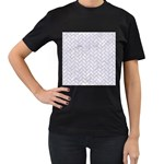 BRICK2 WHITE MARBLE & SAND (R) Women s T-Shirt (Black) (Two Sided) Front
