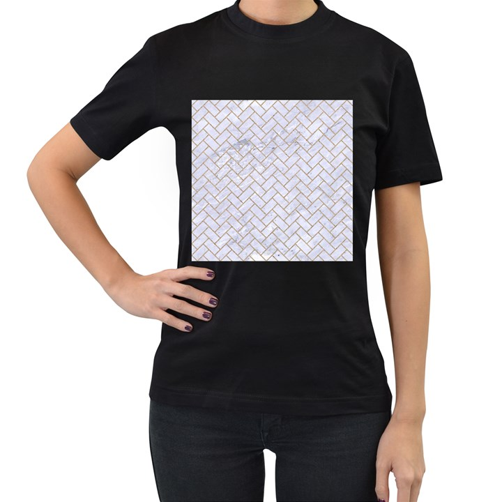 BRICK2 WHITE MARBLE & SAND (R) Women s T-Shirt (Black) (Two Sided)