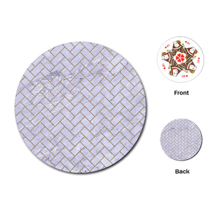 BRICK2 WHITE MARBLE & SAND (R) Playing Cards (Round)